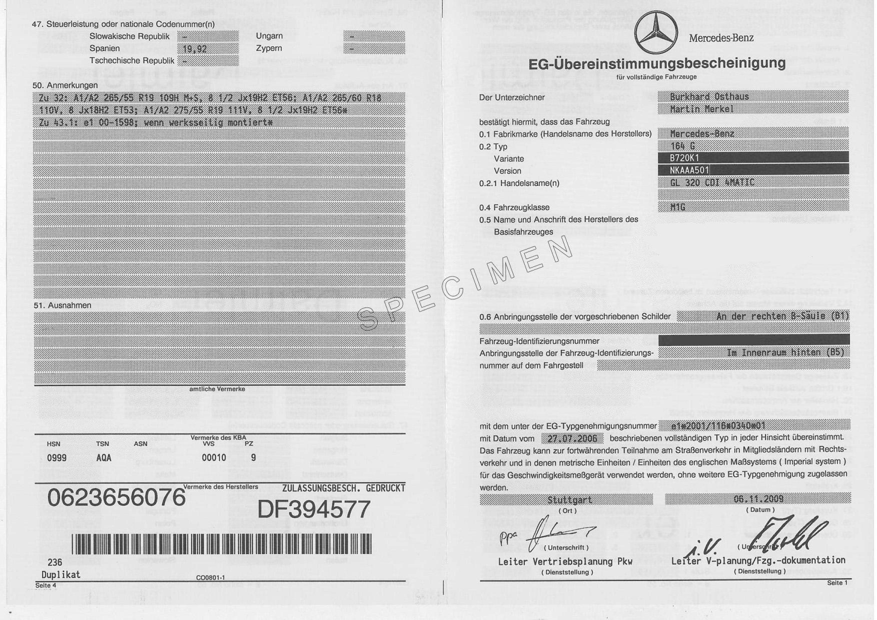 COC-Papiere Mercedes