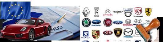 Konformitätsbescheinigung des importierten Autos