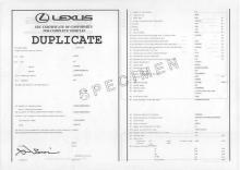 Lexus EG-Übereinstimmungsbescheinigung CoC