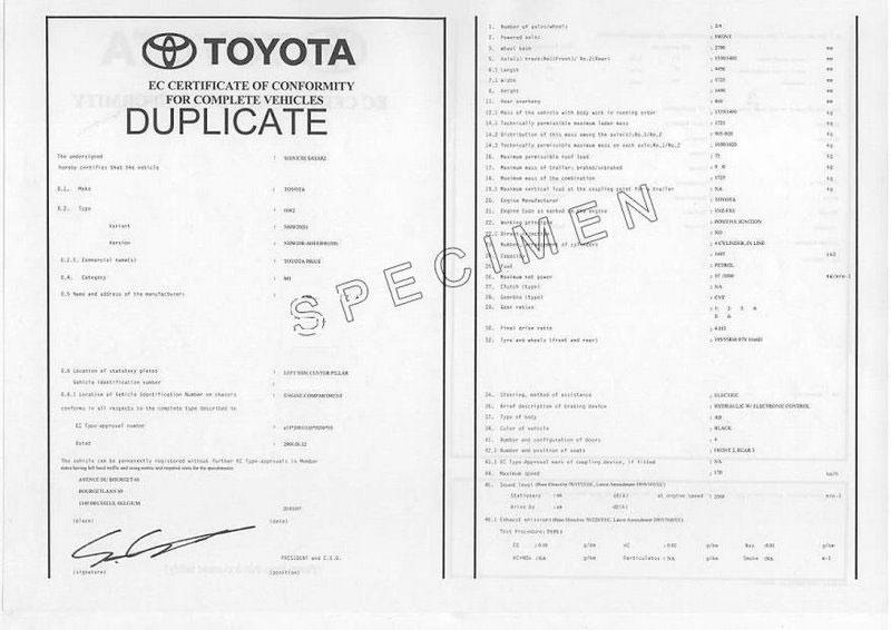Was ist eine COC-Papiere Toyota